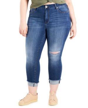 Trendy Plus Size Cropped Cuffed Skinny Jeans