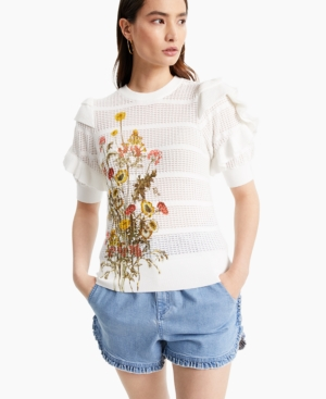 Inc Cotton Floral Ruffle-Sleeve Sweater, Created for Macy's