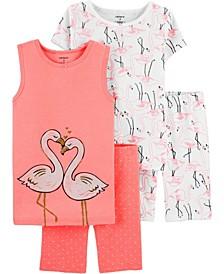 Little Girls 4-Piece Pajama Set