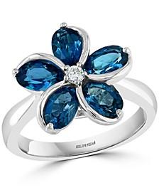 EFFY® London Blue Topaz (2-7/8 ct. t.w.) & Diamond (1/20 ct. t.w.) Flower Ring in 14k White Gold
