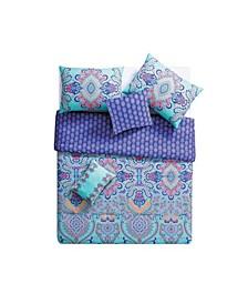 Amherst Reversible Damask 5 Piece Comforter Set, Full/Queen