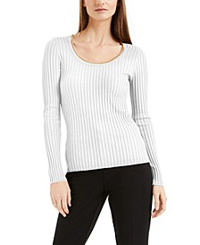 INC Ribbed Chain-Scoop-Neck Top, Created for Macy's