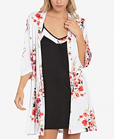Floral-Print Chemise Nightgown & Wrap Robe Set