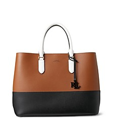 Marcy Two-Tone Leather Large Satchel