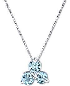"Aquamarine (3/4 ct. t.w.) & Diamond Accent Flower 18"" Pendant Necklace in 14k White Gold"