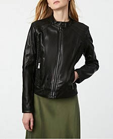 Faux-Leather Zip Front Moto Coat