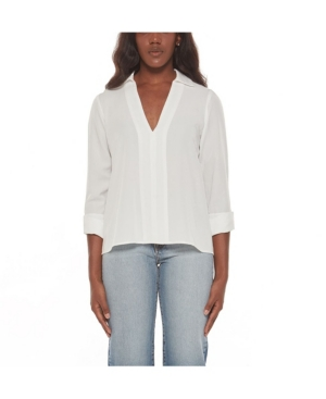 Women's V-Neck Collared Shirt
