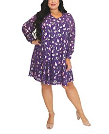 Women's Plus Size Foil Print Trapeze Dress