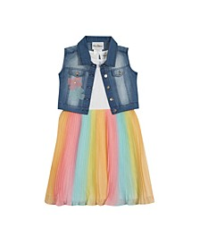 Toddler Girls Ombre Pleated Dress with Denim Vest