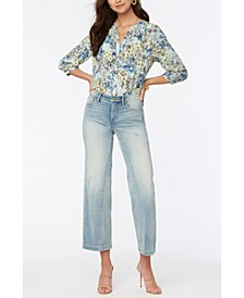 Petite Teresa Wide Leg Ankle Jeans with Contoured Inseams