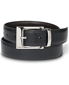 Montblanc Palladium-Coated Pin Buckle Reversible Leather Belt 9774