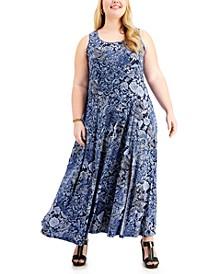 Plus Size Arabesque Paisley-Print Maxi Dress