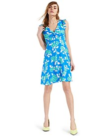 Twist-Front Ruffle-Trim Dress, Created for Macy's