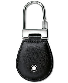 Montblanc Stainless Steel Black Leather Meisterstück Key Fob 14085