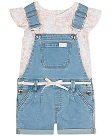 Baby Girls 2-Pc. Floral-Print Top & Denim Shortalls Set
