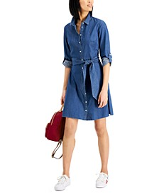 Cotton Denim Shirtdress