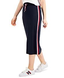Striped-Trim Midi Skirt