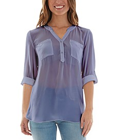 Juniors' Split-Neck Roll-Tab Sleeve Top