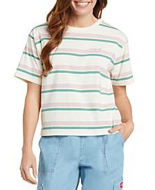 Juniors' Striped Logo T-Shirt