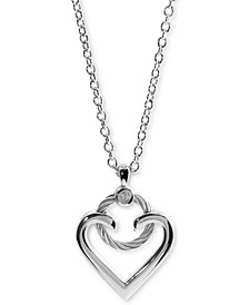 """Heart Cable Pendant Necklace in Sterling Silver & Stainless Steel, 15-3/4 + 2"""" extender"""