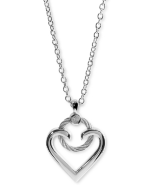 Heart Cable Pendant Necklace in Sterling Silver & Stainless Steel