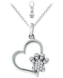 "Cubic Zirconia Heart & Paw 18"" Pendant Necklace, Created for Macy's"