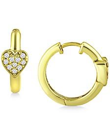 "Cubic Zirconia Heart Small Hoop Earrings, 0.63"", Created for Macy's"