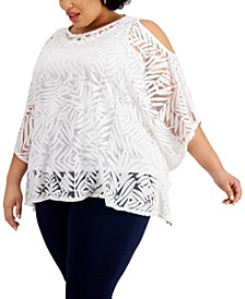 Plus Size Cold-Shoulder Overlay Top, Created for Macy's