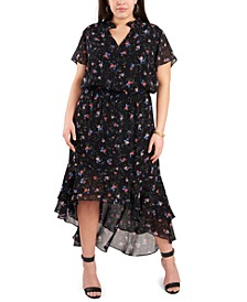 Trendy Plus Size Printed High-Low Dress