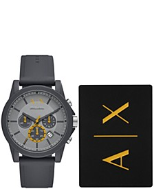 AX Men's Chronograph Gray Silicone Strap Watch with luggage tag 44mm
