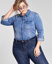 Trendy Plus Size Denim Shirt Bodysuit, Created for Macy's