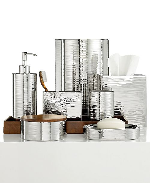 Hotel Collection Polished Hammered Metal Bath Accessories Collection, Created for Macy's