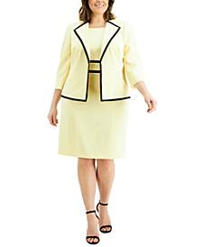 Plus Size Contrast-Trim Dress Suit