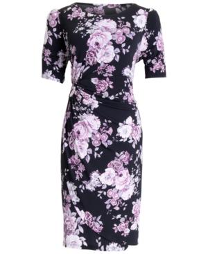 Floral-Print Gathered-Waist Sheath Dress
