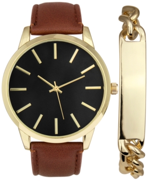 INC INTERNATIONAL CONCEPTS INC MEN'S BROWN IMITATION LEATHER STRAP WATCH 45MM GIFT SET, CREATED FOR MACY'S