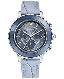 Women's Swiss Chronograph Octea Lux Blue Crocodile Leather Strap Watch 38mm