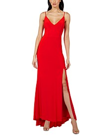 Juniors' V-Neck Jersey Gown