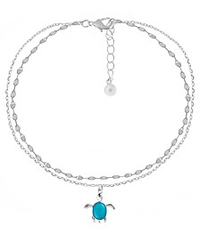 Double Row Turtle Anklet in Fine Silver Plate