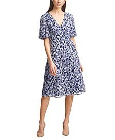 Printed Chiffon A-Line Dress