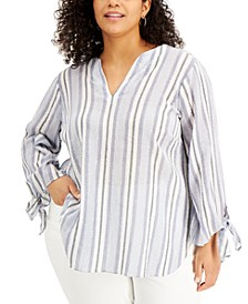 Plus Size Striped Tie-Sleeve Top