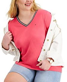 Plus Size V-Neck Tipped T-Shirt