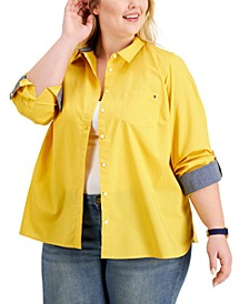 Plus Size Cotton Roll-Tab Shirt