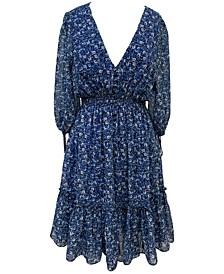 Plus Size Floral-Print Peasant Dress