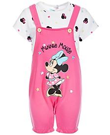 Baby Girls 2-Pc. Minnie Mouse Shortall & Printed T-Shirt Set