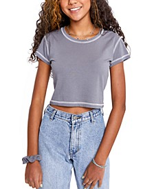 Juniors' Vista Contrast-Stitched Cropped T-Shirt