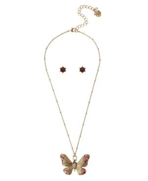 Butterfly Pendant Necklace Stone Earrings