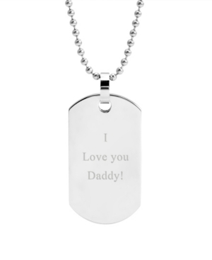"""Men's Large Stainless Steel """"I Love You Daddy"""" Dog Tag Necklace"""