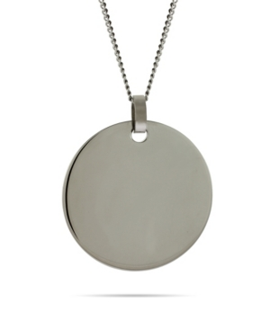 Men's Large Stainless Steel Round Tag on Curb Chain Necklace