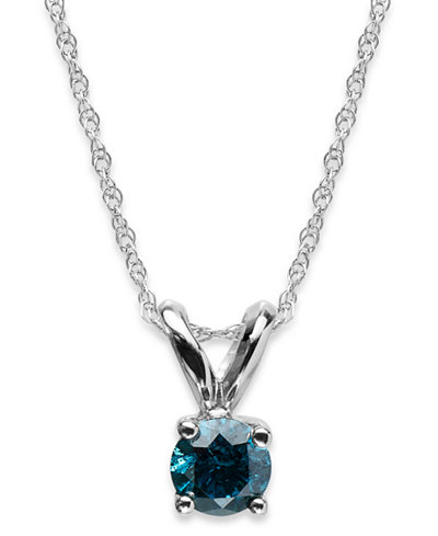 10k White Gold Blue Diamond Round Pendant Necklace (1/4 ct. t.w.)
