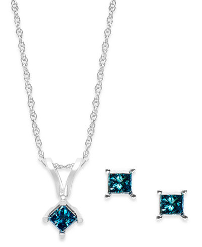10k White Gold Blue Diamond Necklace and Earring Set (1/6 ct. t.w.)
